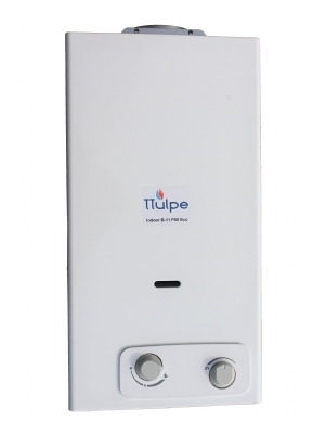 14 liters per minute propane gas water heater with battery ignition, 50 mbar